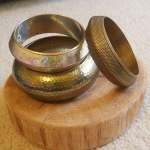 Vintage metal bangles bracelet set 3 brass silver